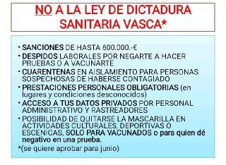 no a la ley de dictadura sanitaria vasca